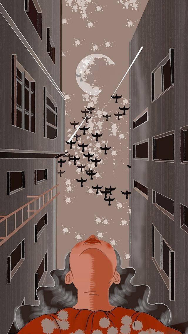 girl looking at moon illustration, Quarantine diary, World lockdown