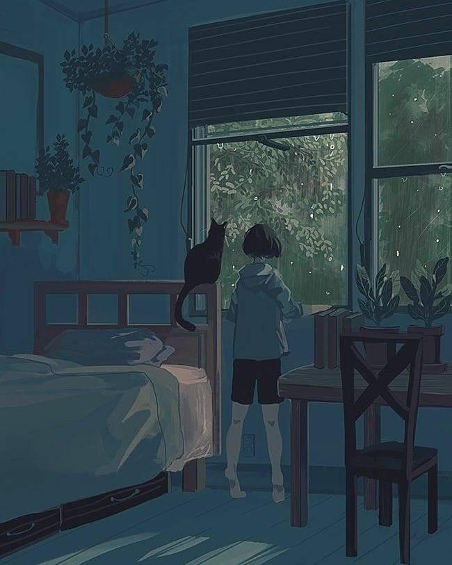 girl standing in rain on her window