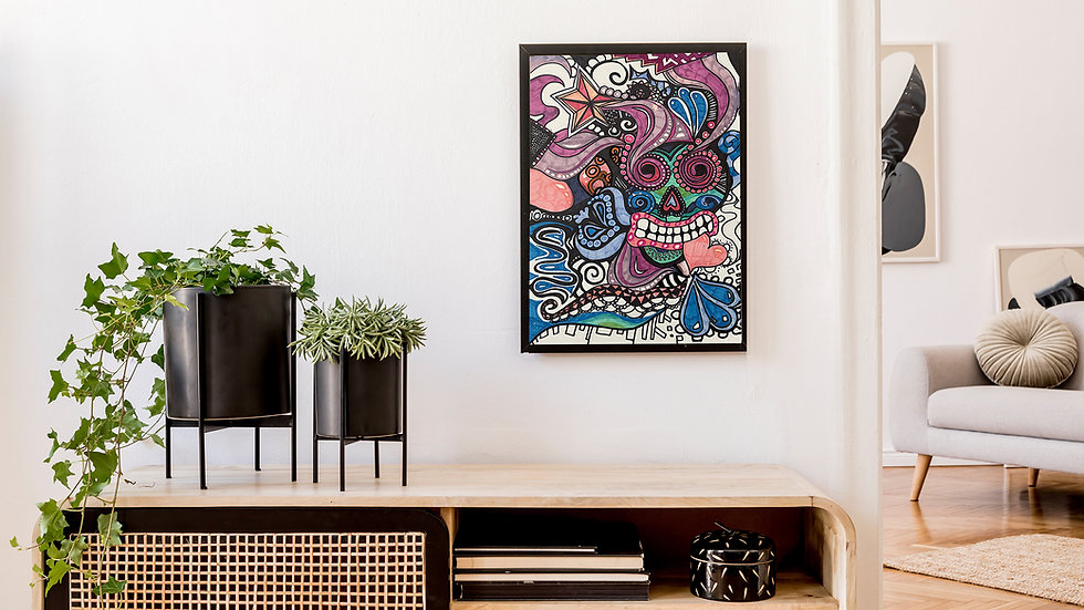"Wall art paint psychedelic graffiti ""skull world"" signed art poster print A4"