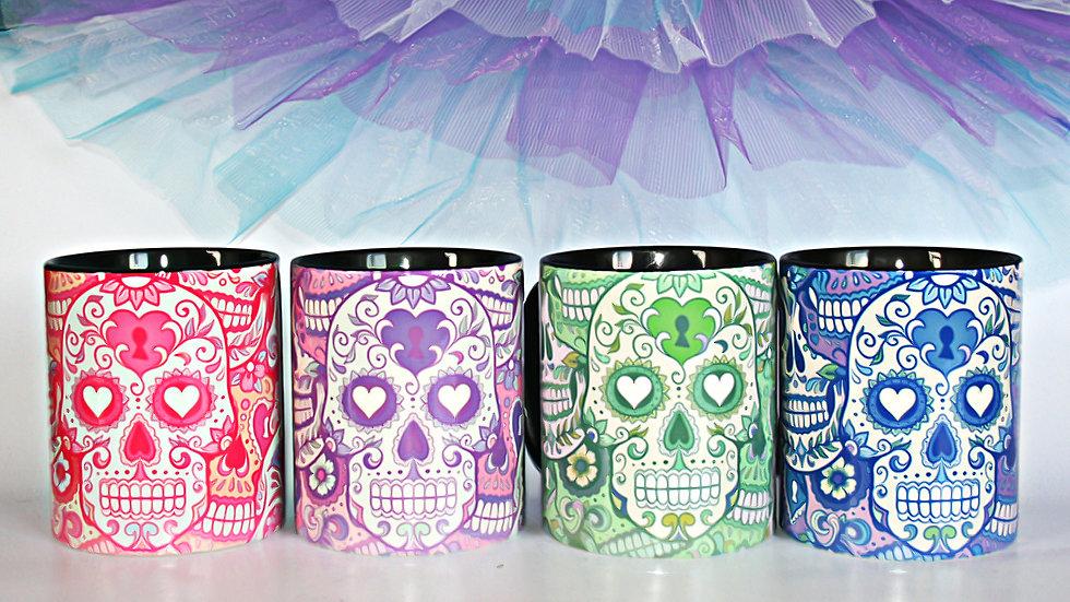 Sugar skull hearts lover mug coffee tea cup