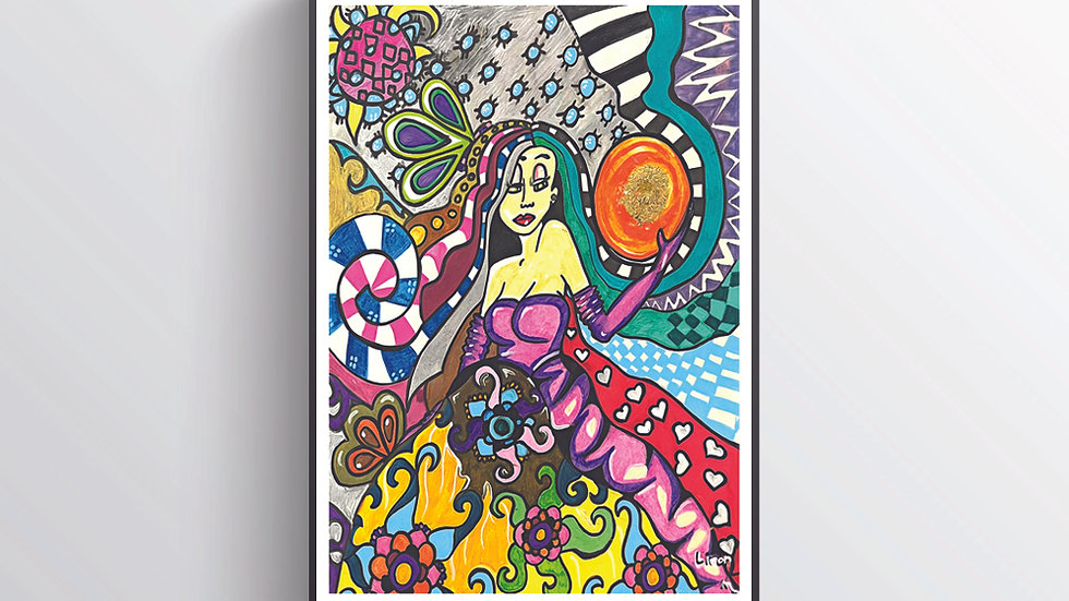 Wall art Wall art Graffiti painting psychedelic Lady other diminutions skull art