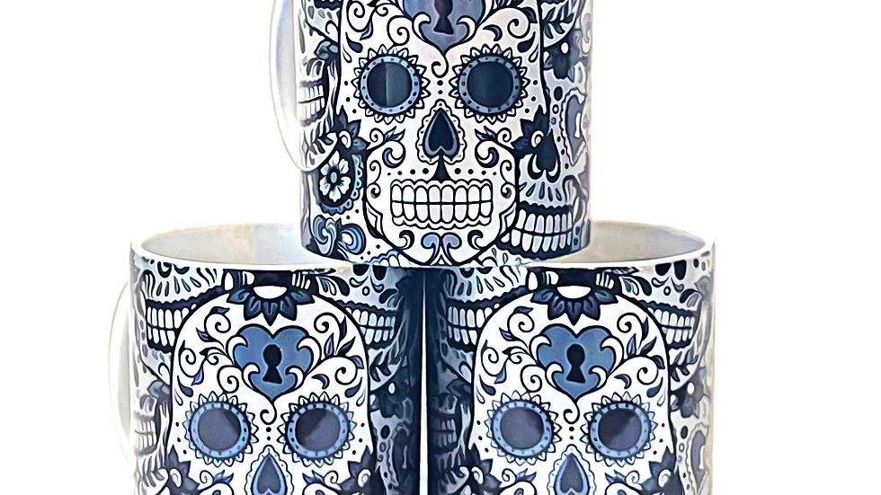 Sugar skull  SILVER mug Gothic SPECIAL Handmade design cup coffee tea