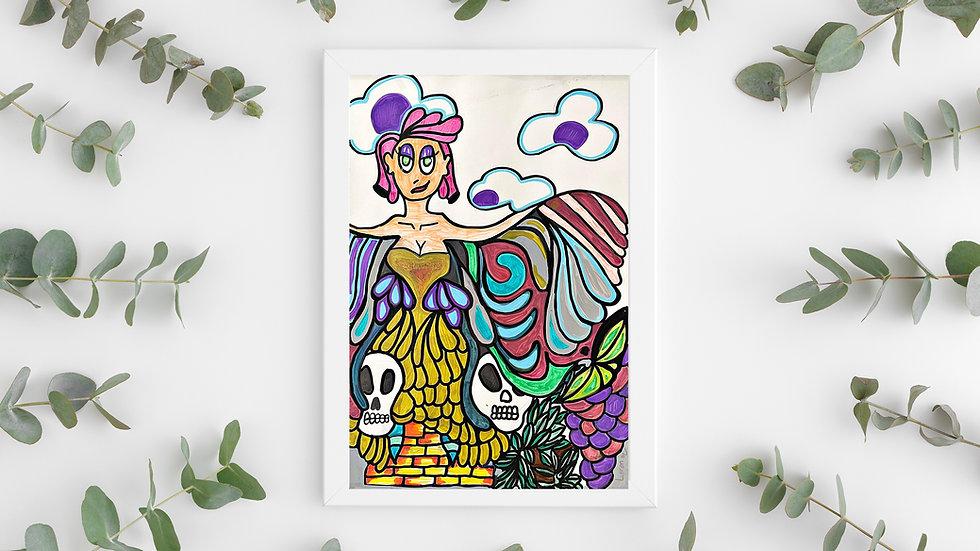 Wall art Graffiti painting psychedelic Fairy lady skull art art poster
