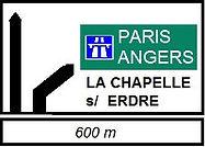 Panneau Paris Angers la Chapelle sur Erdre