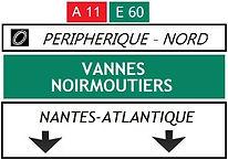 panneau périphérique nord direction vannes nantes atlantique
