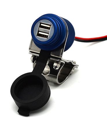 Cliff Top 4.6 Amp Aluminium Motorcycle Handlebar USB Charger (BLU)