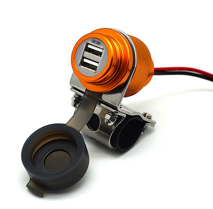 Cliff Top 4Amp Magnetic Switch Aluminium Motorcycle Handlebar USB Charger (GLD)