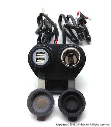 Handlebar Power Charger(Dual USB+Cigarette Socket)