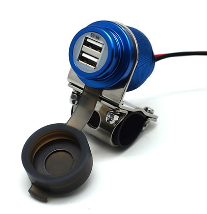 Cliff Top 4Amp Magnetic Switch Aluminium Motorcycle Handlebar USB Charger (BLU)