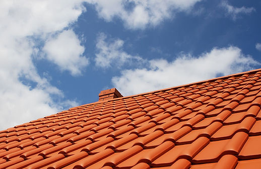 Orange clay tile roof