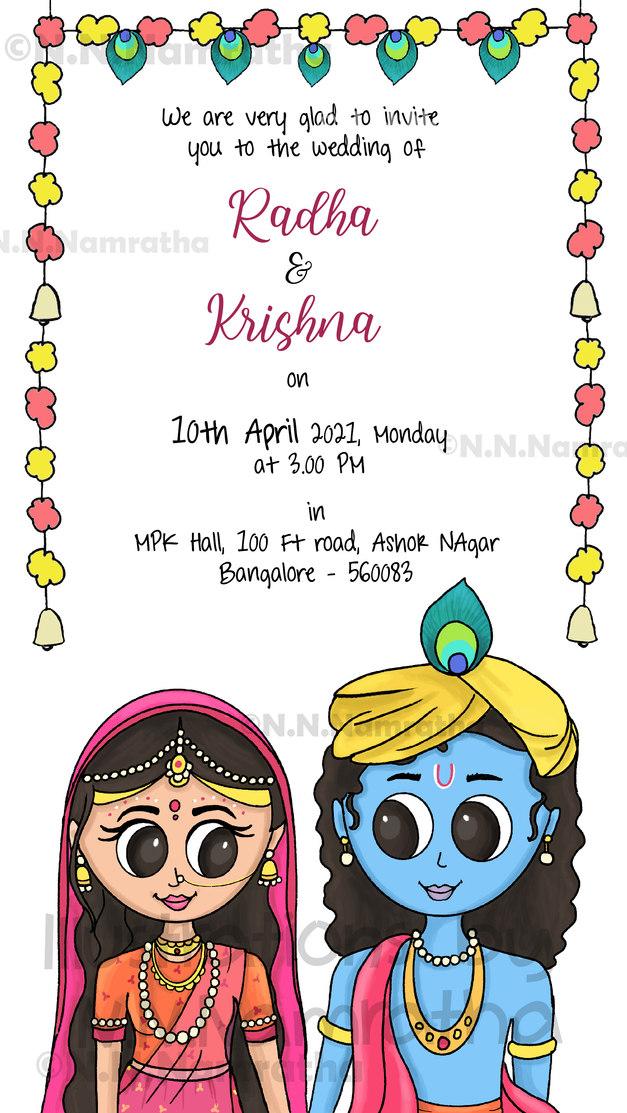 Radha Krishna Wedding Invite