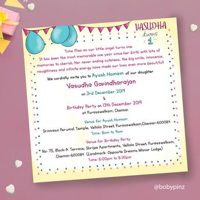 Vasudha - 1st birthday invite