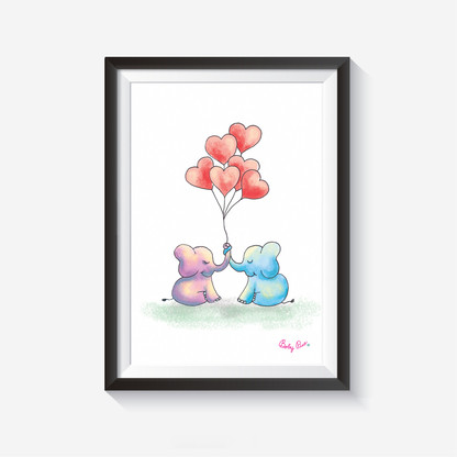 Cute Elephants Wall Art  These wall arts will make your wall smile :)