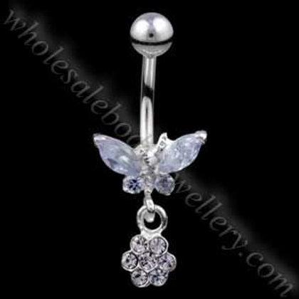 Butterfly Flower Silver & Steel Navel (BM044)