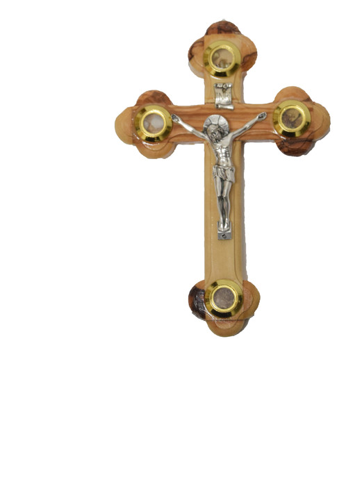 Olive Wood Cross 2215m With Holy Essences From Bethlehem