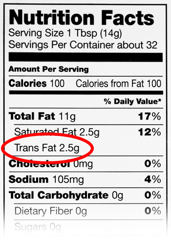 Look for the Trans Fat content on the nutrition label! It should say 0!!