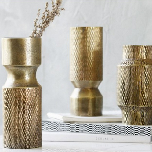 BE GOLD ALUMINIUM VASES  80+VAT