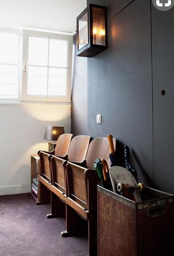 quirky hall idea with dark grey walls.