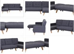 Modern Corner Sofa Bed Grey Fabric