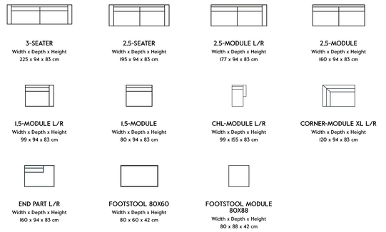 Different components available for cinema sofa