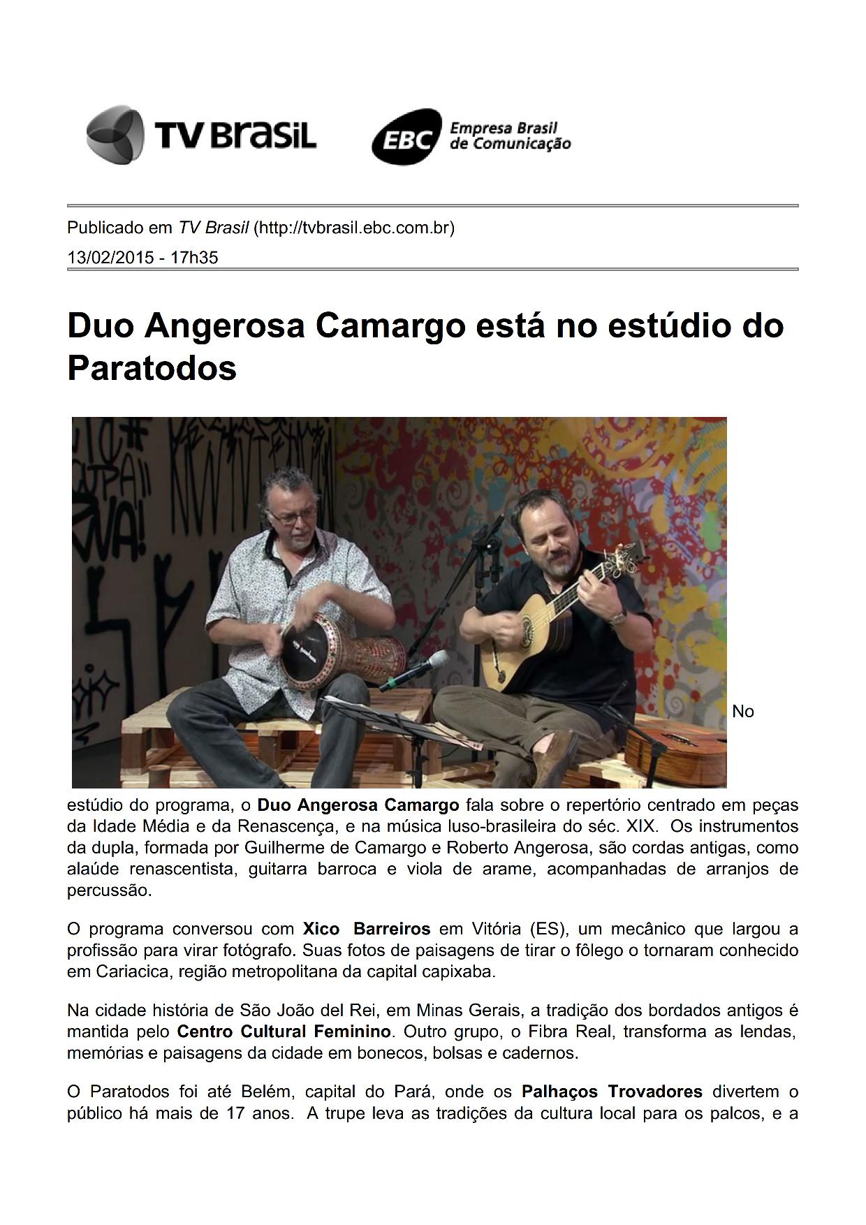 Duo Angerosa Camargo l Tv Brasil