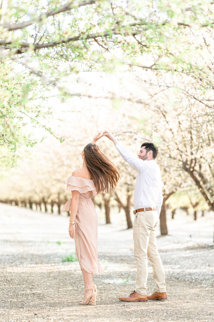 Lauren and Andrew Almond Blossoms Sessio