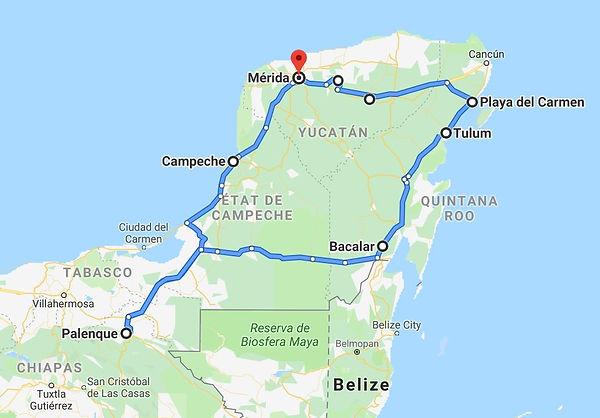 Location de camping-car Yucatan Mexique - Itinéraire 3