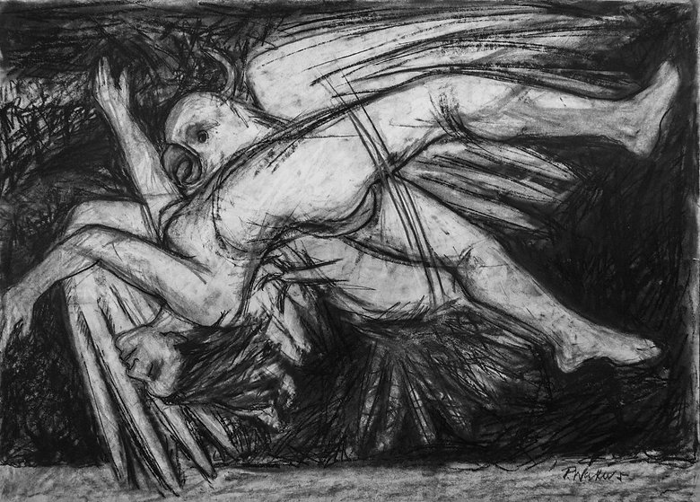 Pat Waters, Dialectic charcoal on paper