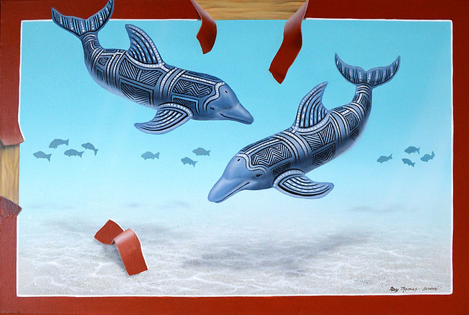 2048px-Michievous Dolphins-Acrylic-on-ca