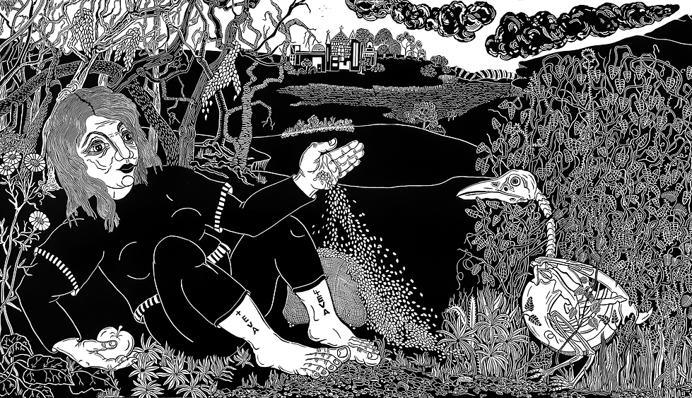 Image: Sue Fraser, Too Late!  Linocut print