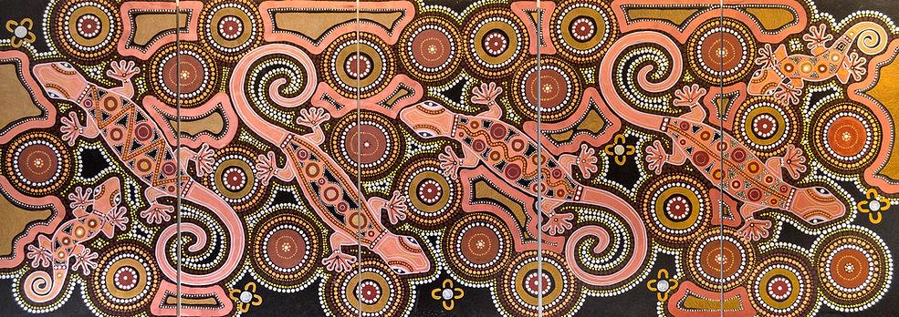 Patricia Pittman, Geckos, Acrylic on board 5 panels