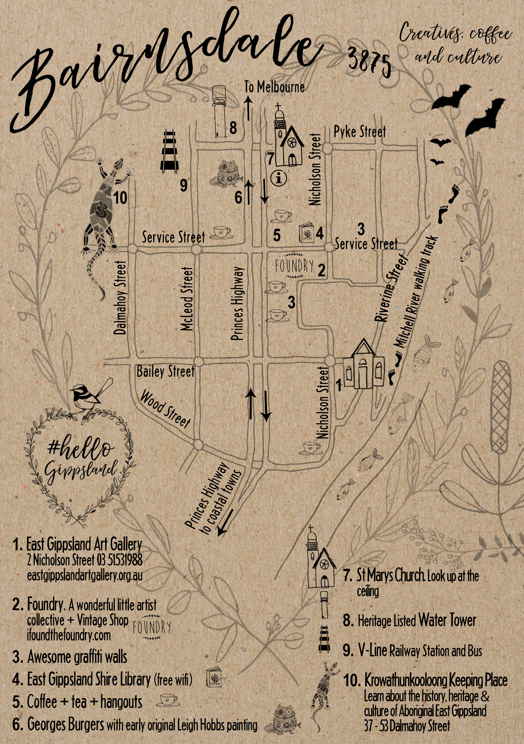 Bairnsdale Art Adventure Map