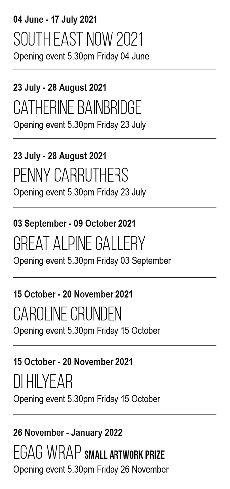 Exhibition listing and opening nights