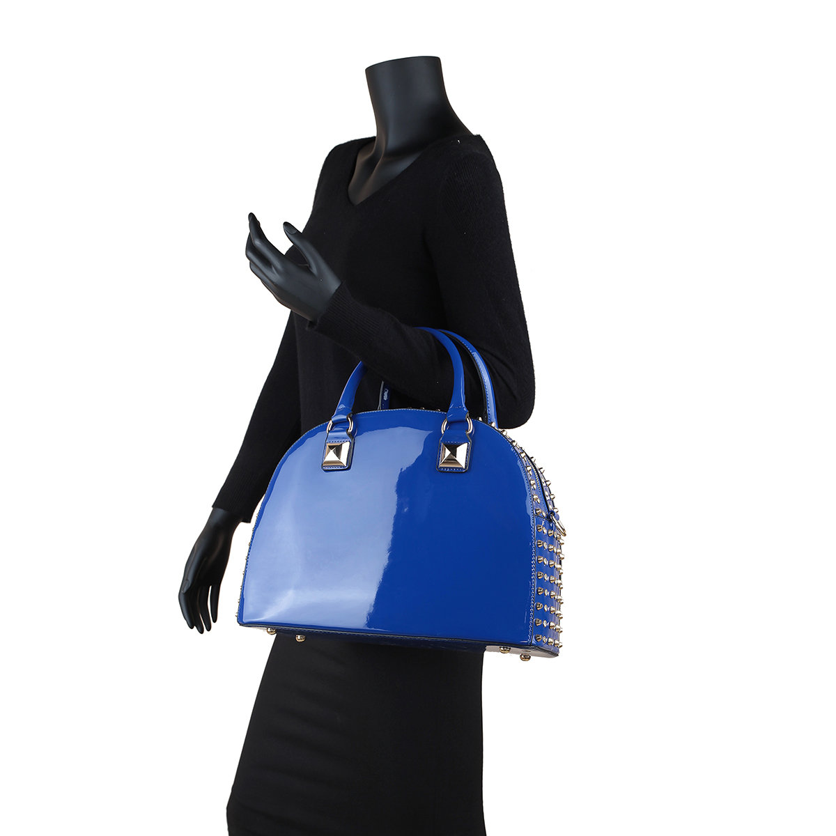 0b3cb1d4fc Dasein® Patent Rhinestone Studded Dome Zip Around Flat Bottom Fashion  HandBag