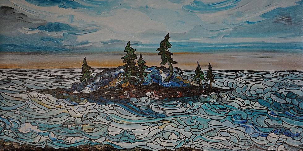 "Winters on the Lake (Print) 12x24"""