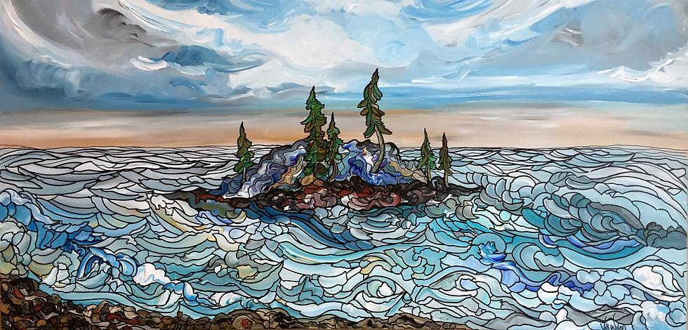 "Winters on the Lake (Original) 48x24"""