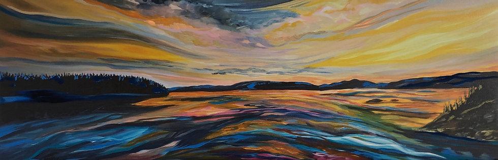 "Sun meets the lake - 36x12"" (Print)"