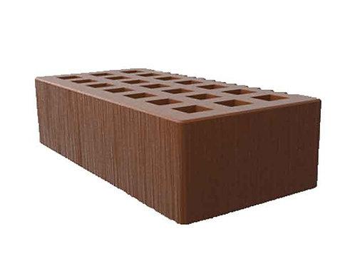 Кирпич лицевой пустотелый цвет какао с поверхностью дерюга