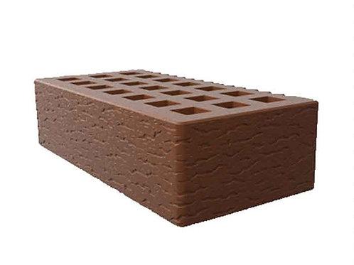 Кирпич лицевой пустотелый цвет какао с поверхностью кора