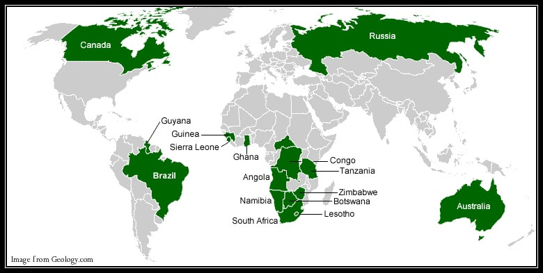Diamond producing Countries, Africa and the world, CA Global