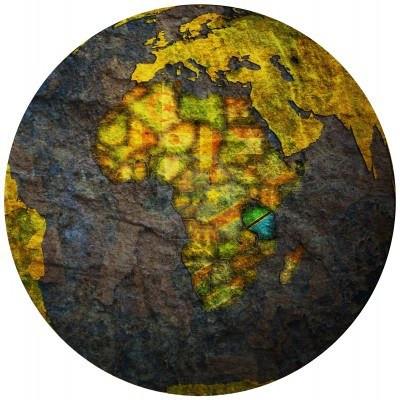 14209972-tanzania-territory-with-flag-on-map-of-globe