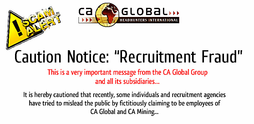 Caution Notice - Recruitment Fraud - CA Global Group