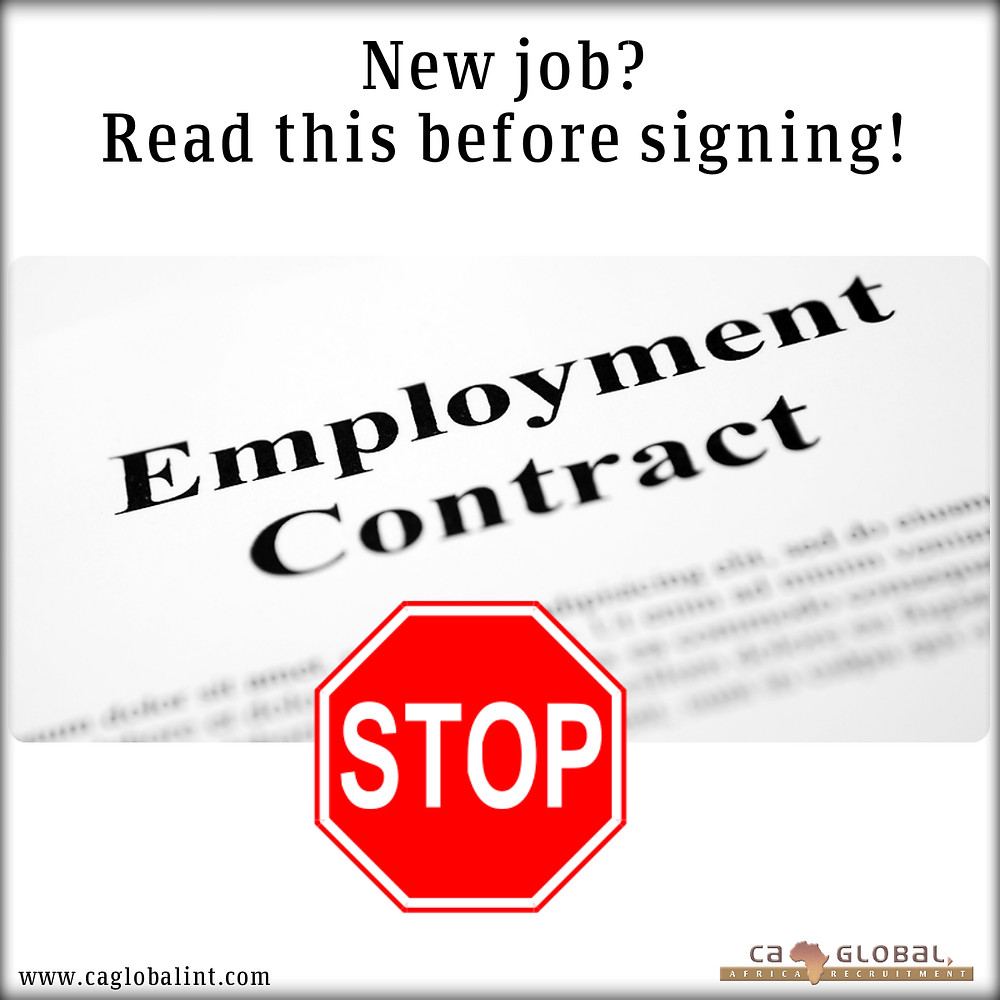 New Job- before signining Employment Contract-jobs in africa
