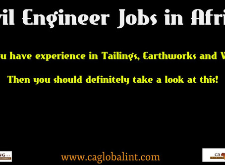 Civil Engineer Jobs in Africa: Tailings, Earthworks and Water