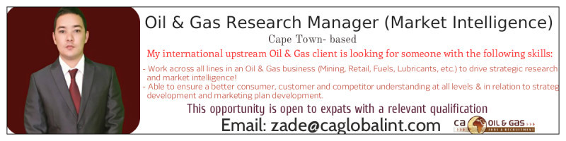 Job in Oil & Gas: Please email Zade Stafford
