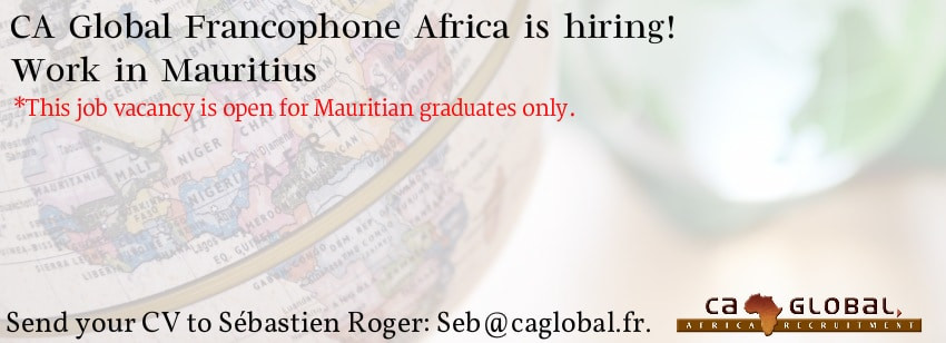 Recruiter jobs, CA Global, Francophone Africa jobs, French HR graduate job in Mauritius