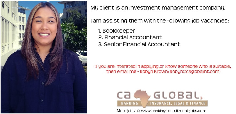 Robyn Brown, Africa Jobs, Bookkeeper and Financial Accountant Investment jobs in Cape Town