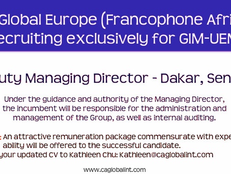 CA Global Europe (Francophone Africa) recruits exclusively for GIM-UEMOA