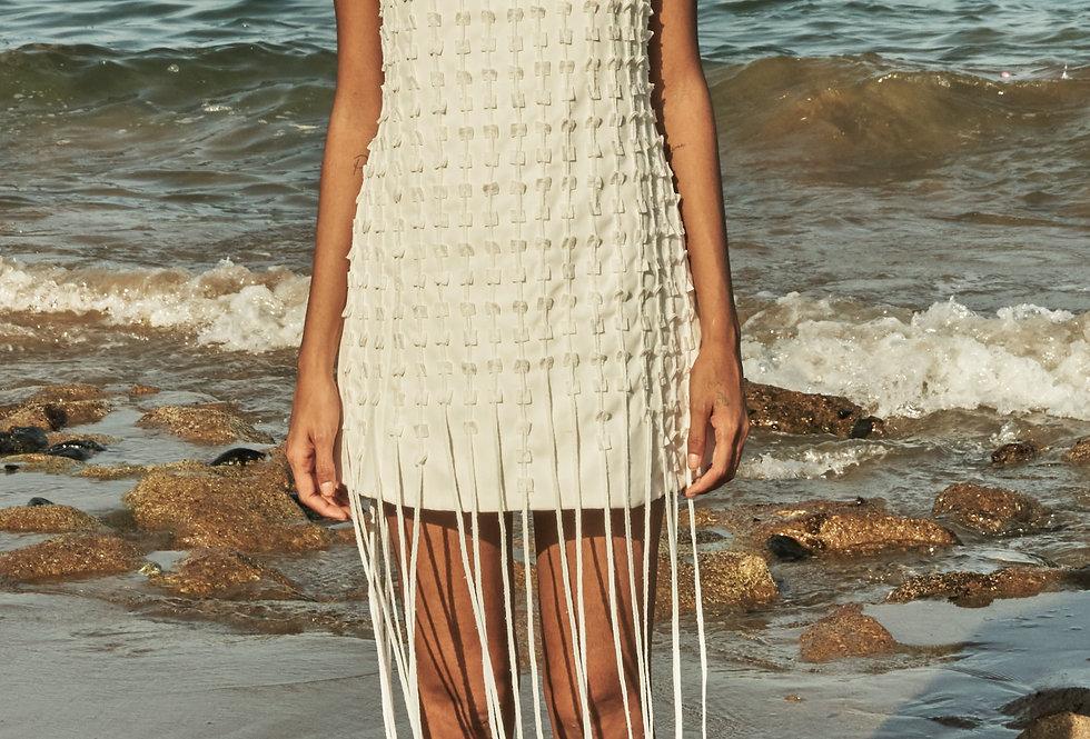WOVEN Square-appliqué dress