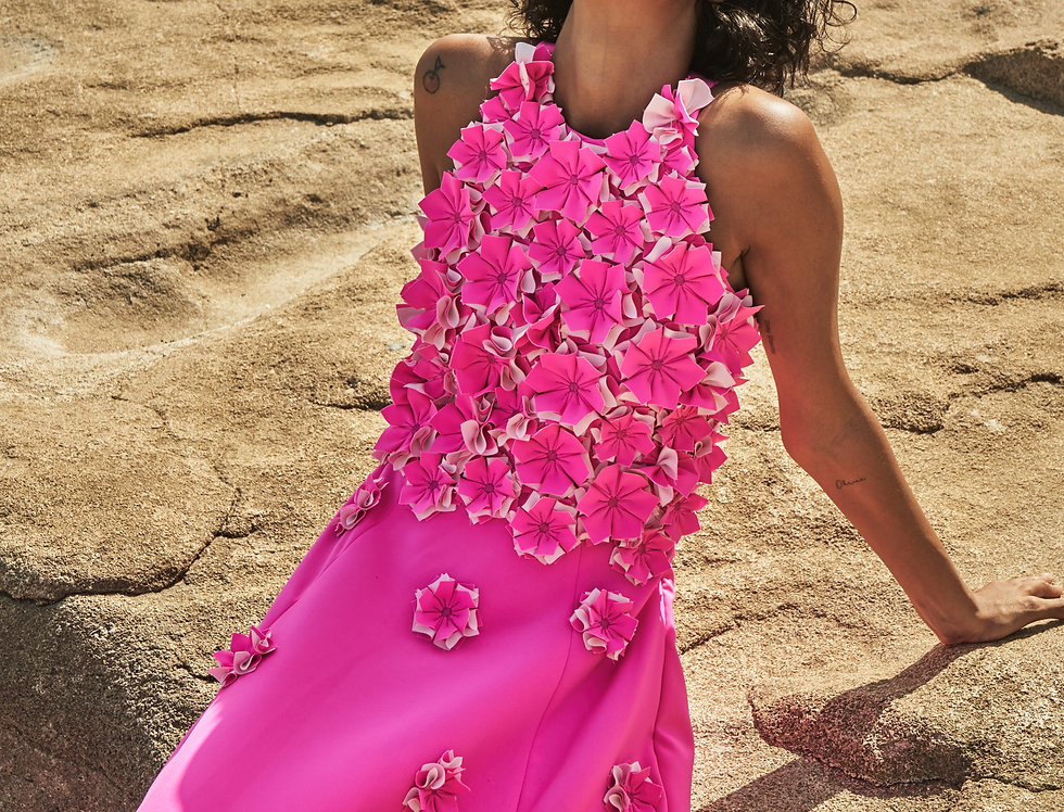 ROSA Pink Floral-appliqué gown